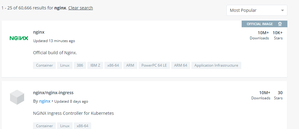 Docker hub Nginx Page