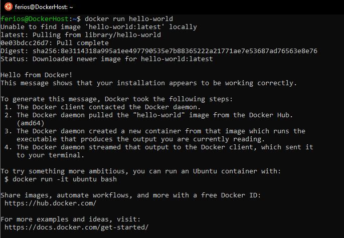 Docker hello-world output