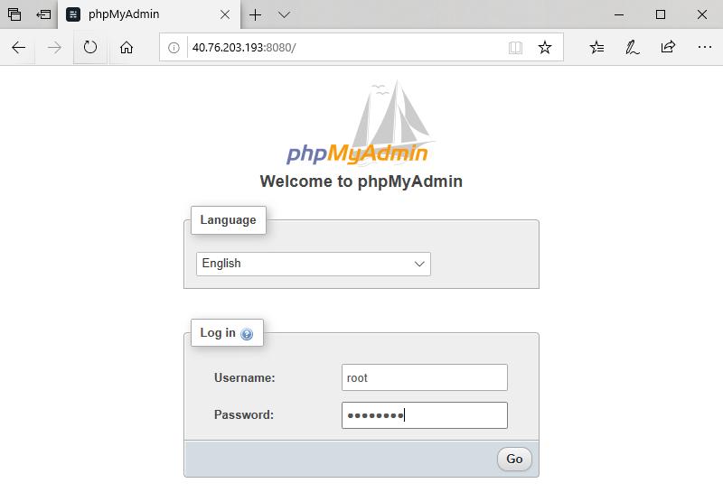 phpmyadmin Homepage
