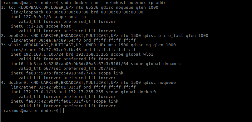 Docker Networking Types: Host networking : Container