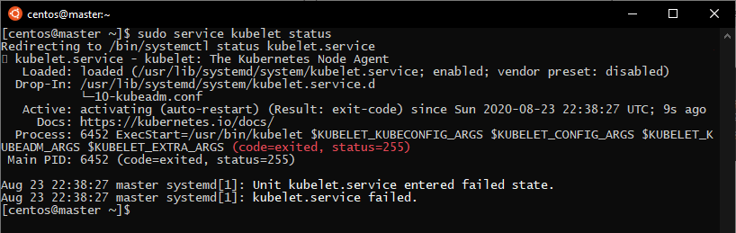 checking kubelet status